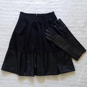 Banana Republic Faux Leather Hem Pleated Skirt
